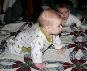 Dom (left) and Alex practice for crawling.