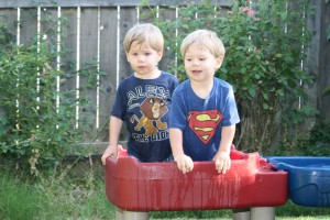 Alex and Dom on the water table.
