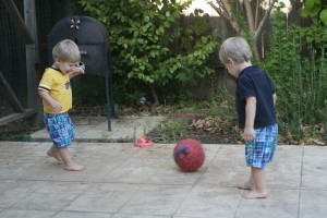 Dom and Alex playing soccer