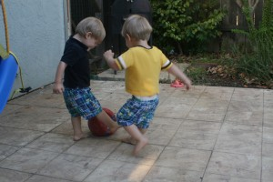 Alex and Dom playing soccer