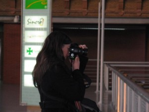 This is Mary having a good time taking pictures of Atocha Station.  (She just likes taking phots.)